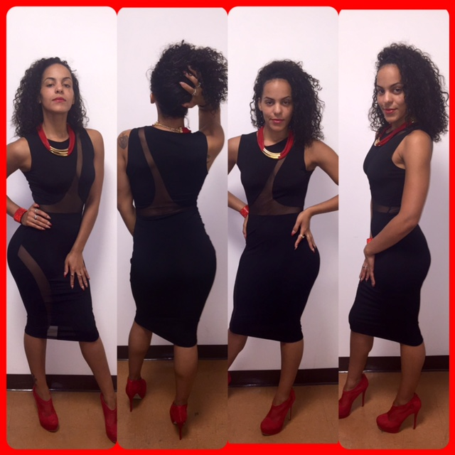 womens black dress and red shoes