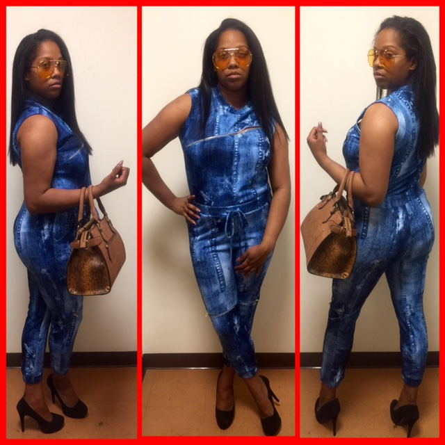 womens blue jumpsuit